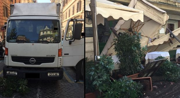 Furgone distrugge ristorante a due passi da via Veneto e fugge, i camerieri lo rincorrono e lo fermano
