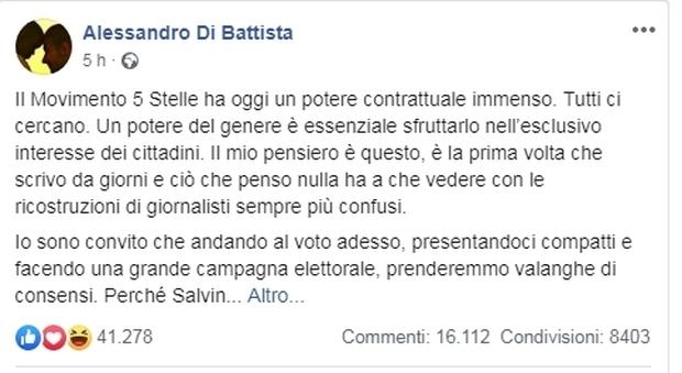 Di Battista attacca Salvini, ira militanti M5S su Facebook: «Vi scavate la fossa»