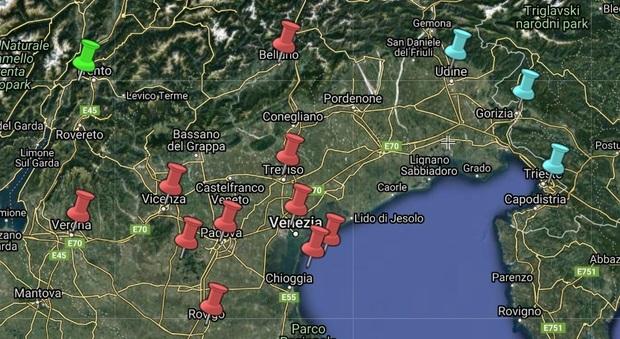 La Mappa del contagio nelle Tre Venezie