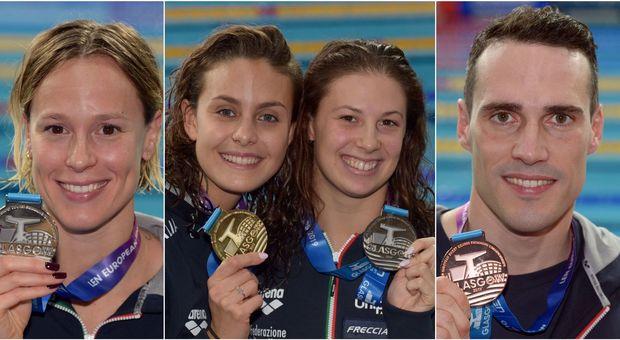 Federica Pellegrini, Martina Carraro con Arianna Castiglioni, Fabio Scozzoli