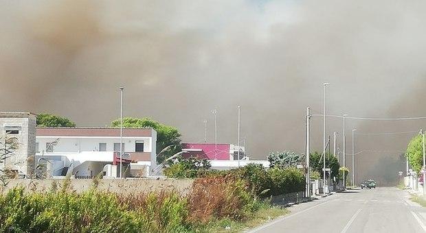 incendio alla marina: le fiamme minacciano le case. Strade chiuse al traffico