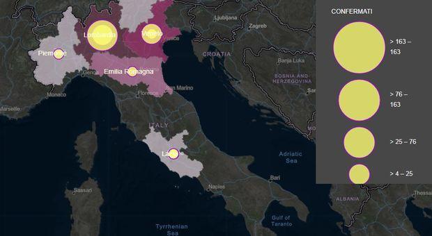 Coronavirus, la mappa del contagio: 79 morti, 2.263 casi e 160 guariti