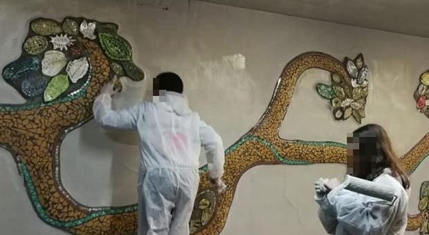 L'opera realizzata dagli studenti nella stazione di Settebagni