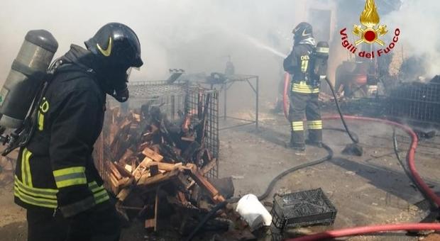 I pompieri durante le operazioni di spegnimento e bonifica del sito a Loreggia in via Muson