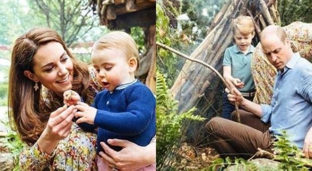 Mamma Kate con Louis e papà William con il primogenito George