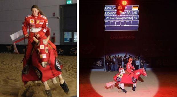 Michael Schumacher, la figlia Gina omaggia il padre: vittoria a cavallo con la tuta della Ferrari