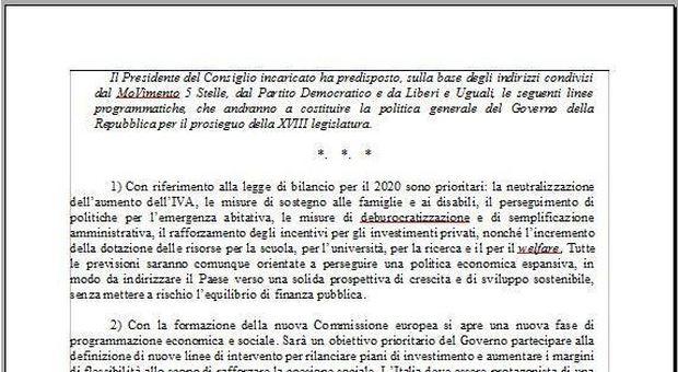 Governo, il programma del Conte bis: tra i 29 punti tasse, Iva, Roma e riforma fiscale