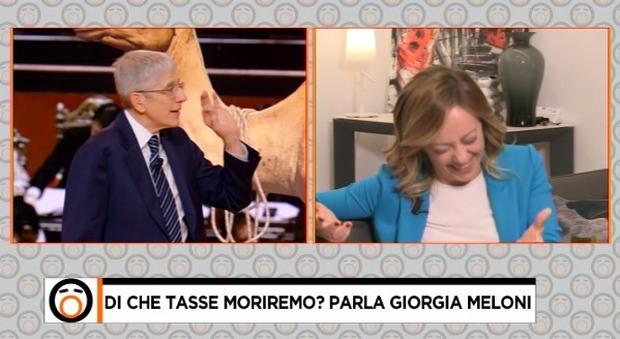 Giorgia Meloni interrotta in diretta dalla figlia a Fuori dal Coro: «Prendi la scimmia, amore»