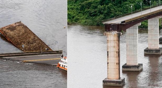 Ponte crolla dopo lo schianto del traghetto: le auto finiscono in acqua, ci sono dispersi