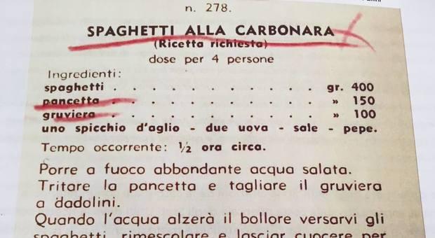 La prima ricetta della carbonara mai pubblicata