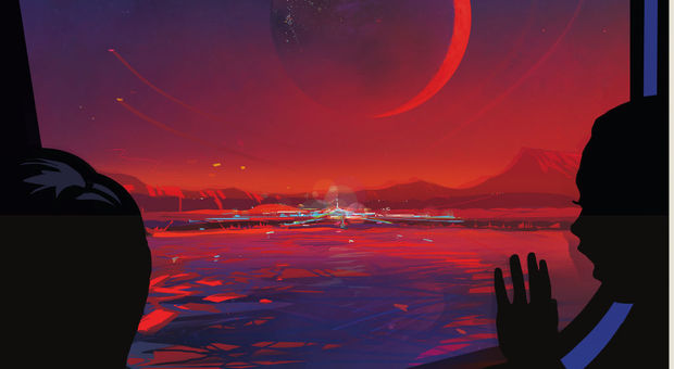 Un poster della Nasa di un immaginario pianeta extrasolare