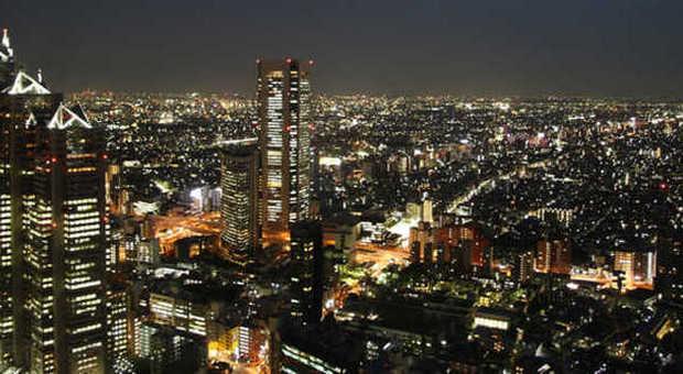 Panorama notturno di Tokyo
