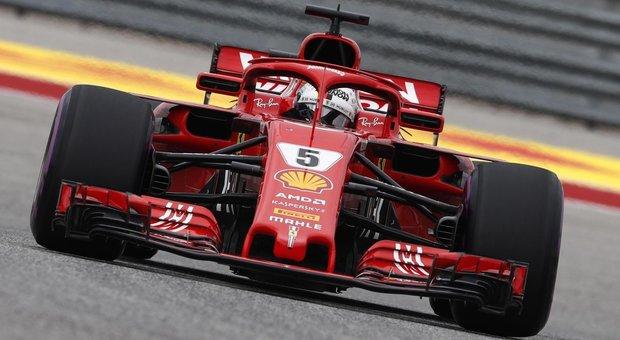Sebastian Vettel con la sua Ferrari SF71H ad Austin