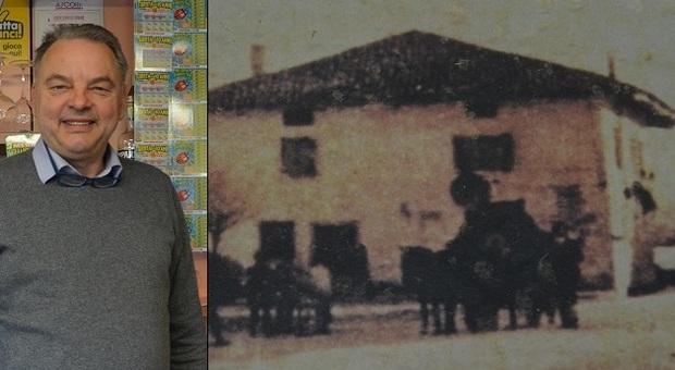 Mauro e il bar in una foto di un secolo fa a Collalto di Tarcento