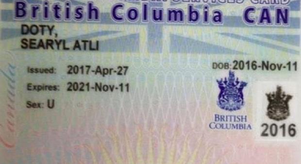 Canada, bambino registrato senza specificare il sesso su un documento ufficiale