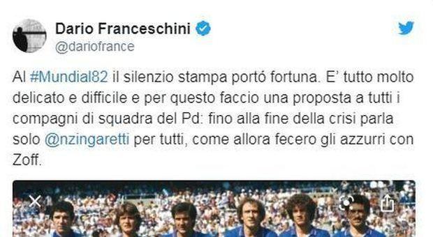 Governo, Franceschini rispolvera il Mundial '82 e Dino Zoff: «Il silenzio è doro»