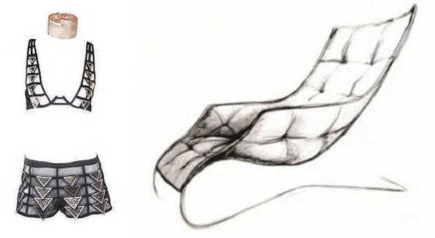 Gianni De Benedittis per La Perla e la lounge chair Maserati by Zanotta