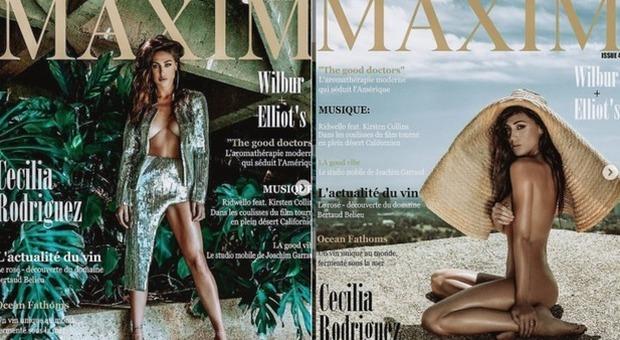 Cecilia Rodriguez nuda su Maxim, la sorella di Belen si prende la doppia copertina
