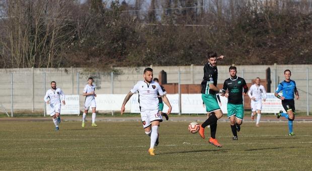 Fabio Lauria, autore di una doppietta, nella partita fra Adriese e San Luigi finita 4-1 al Bettinazzi di Adria