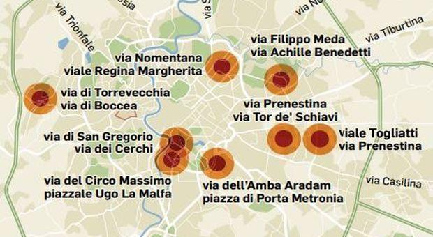 Strade killer a Roma: nove scontri al giorno nei dieci incroci critici