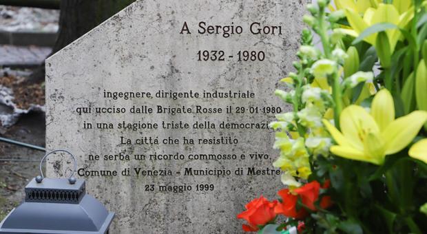 La lapide alla memoria di Sergio Gori a Mestre