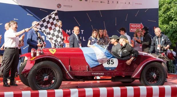 Juan Tonconogy e Barbara Ruffini con l'Alfa Romeo 6C 1500 GS Testa Fissa del 1933 vincitori della Mille Miglia 2018