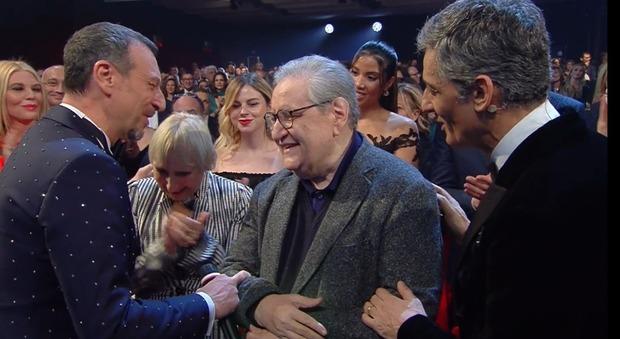 Vincenzo Mollica con Amadeus e Fiorello a Sanremo
