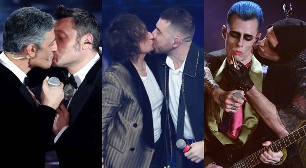 Sanremo, è la serata del bacio: da Fiorello e Ferro, a Nannini e Coez