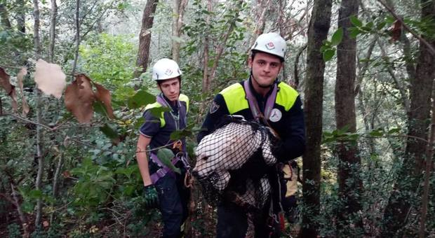 I soccorritori con la cagnetta salvata nel dirupo