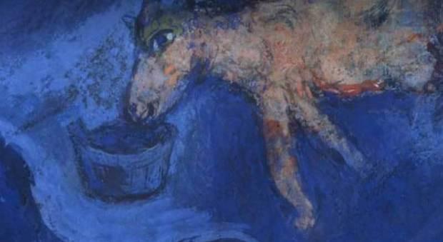 Dettaglio di un'opera di Chagall in mostra