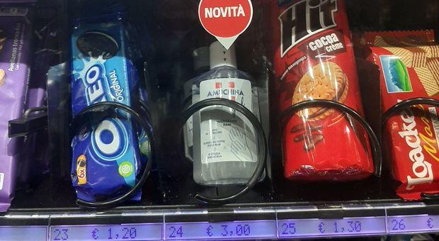 Amuchina venduta nei distributori automatici delle stazione metro della linea A