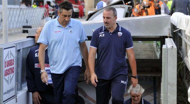 Alfredo Aglietti e Mario Petrone prima di Ascoli-Entella del 15 settembre scorso