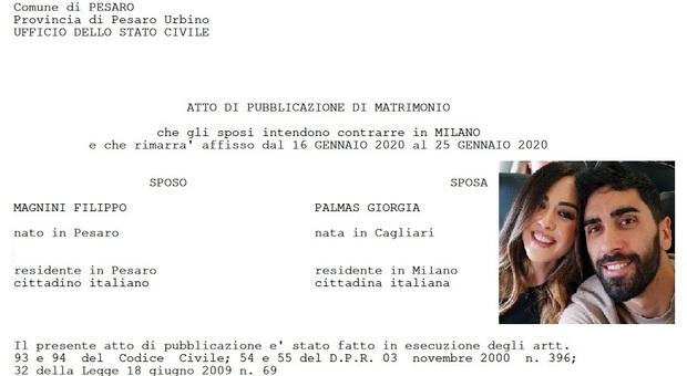 Pubblicazioni in Comune: Filippo Magnini e Giorgia Palmas sposi a marzo a Milano