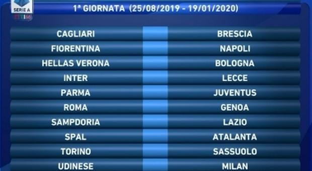 Calendario Serie A, sorteggio in diretta. Prima giornata il 24 e 25 agosto