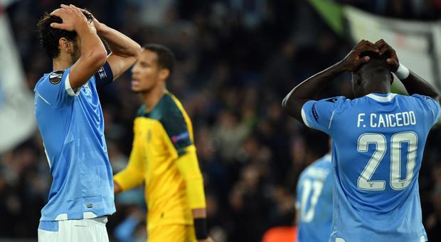 La disperazione dei giocatori della Lazio (foto ROSI)