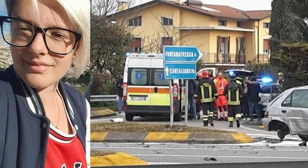 Eleonora Gava e l'auto incidentata
