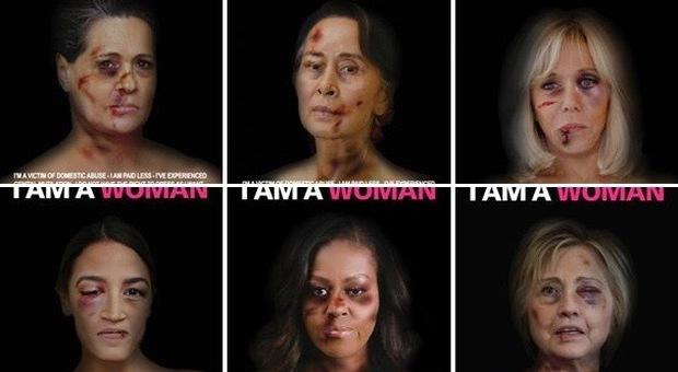 Da Merkel a Clinton, le donne potenti con i lividi sul viso: i poster choc diventano virali