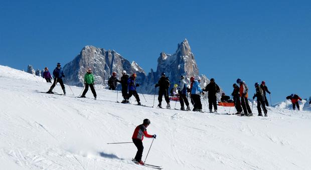 Sciatori al Passo Lusia