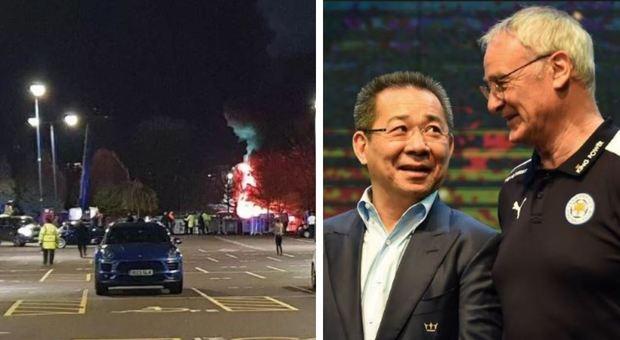 Leicester, precipita fuori dallo stadio l'elicottero del presidente Vichai Srivaddhanaprabh