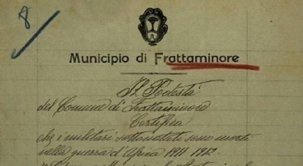 Frattaminore. storico locale ritrova a Roma documento del comune del regime fascista.