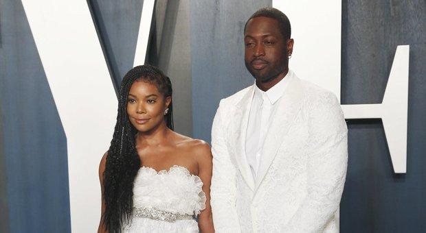 foto con la moglie Gabrielle Union