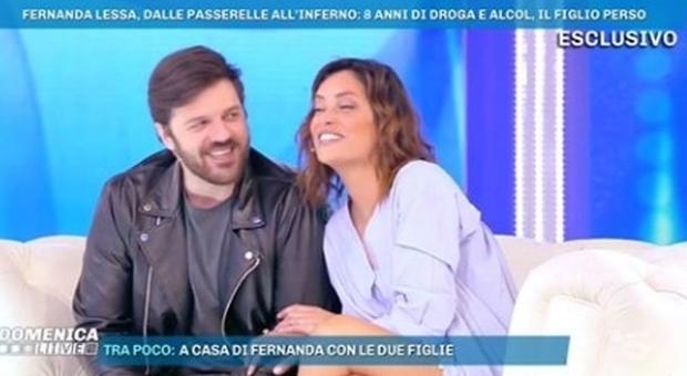 Domenica Live, Fernanda Lessa con il marito dalla D'Urso: «Mio figlio mi ha salvato la vita»