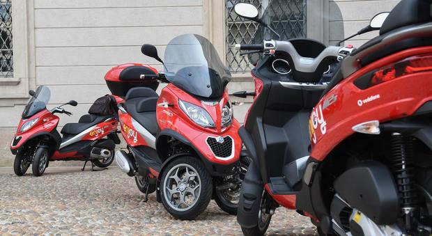 I Piaggio MP3 con cui viene fatto il servizio di scooter sharing Enjoy