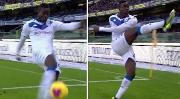 Balotelli calcia il pallone in curva contro i cori razzisti, Verona-Brescia sospesa 4'