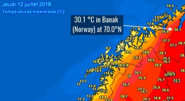 Clima fuori controllo: al Circolo polare artico toccati i 30 gradi