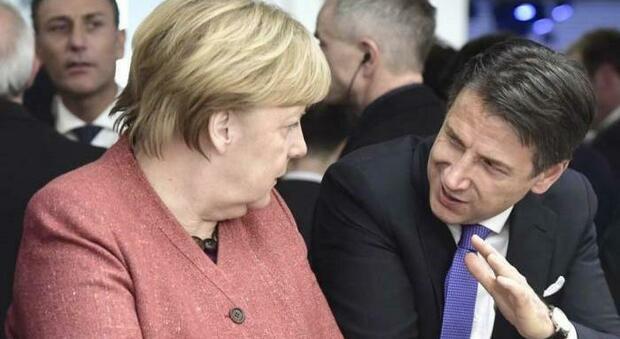 La Cancelliera tedesca Angela Merkel e il premier italiano Giuseppe Conte