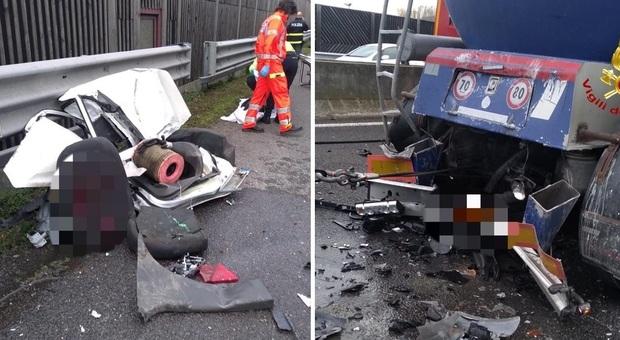 Tragedia in autostrada: due camion schiacciano un'auto. Conducente morto