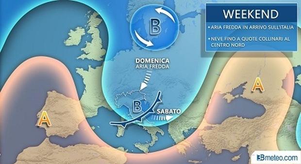 Il grafico con le previsioni di 3bmeteo.com. Arrivano pioggia, neve fino a quote basse e vento gelido: ecco dove e quando