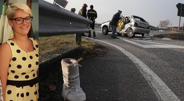 Eleonora Gava e l'auto dopo l'incidente