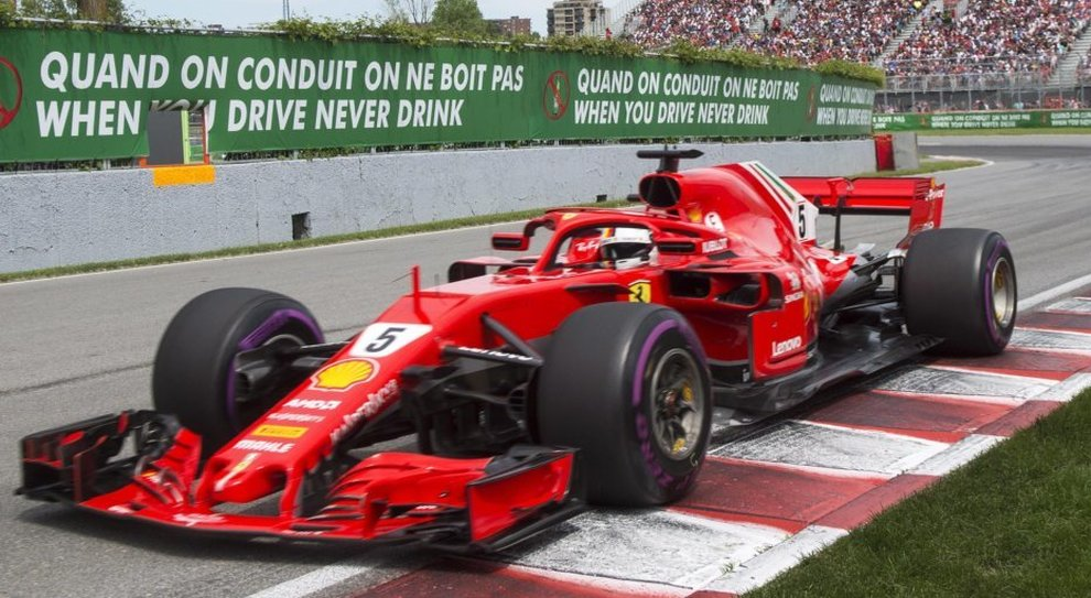 La Ferrari di Sebastian Vettel dominatrice del gp del Canada